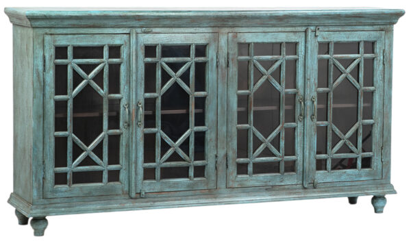 Large turquoise sideboard cabinet with 4 glass doors