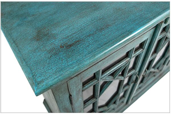Large turquoise sideboard cabinet with 4 glass doors top detail