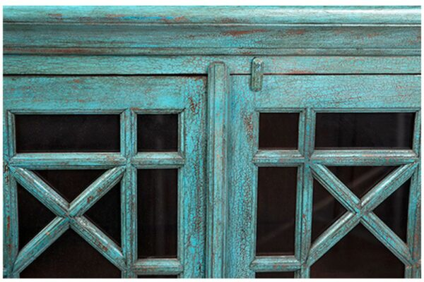 Large turquoise sideboard cabinet with 4 glass doors door detail
