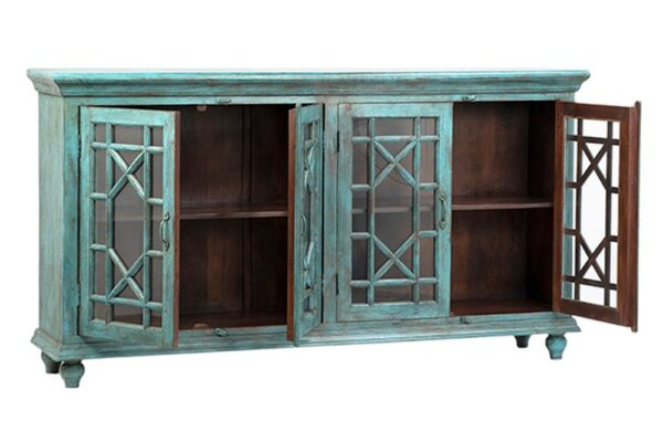 Large turquoise sideboard cabinet with 4 glass doors shown with open doors
