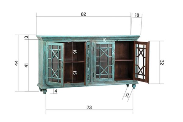 Large turquoise sideboard cabinet with 4 glass doors interior view