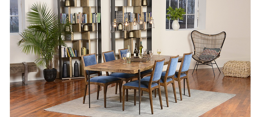 dining room table with iron base and blue dining chairs
