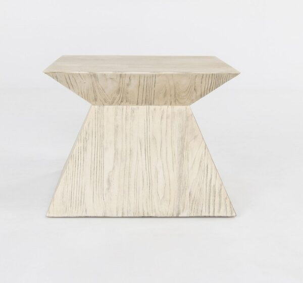 Geometrical white side table front view