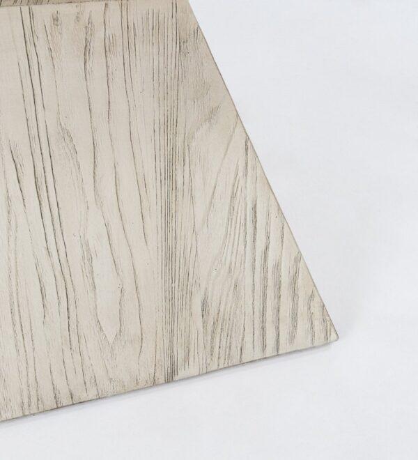 Geometrical white side table croner detail