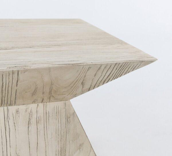 Geometrical white side table corner view