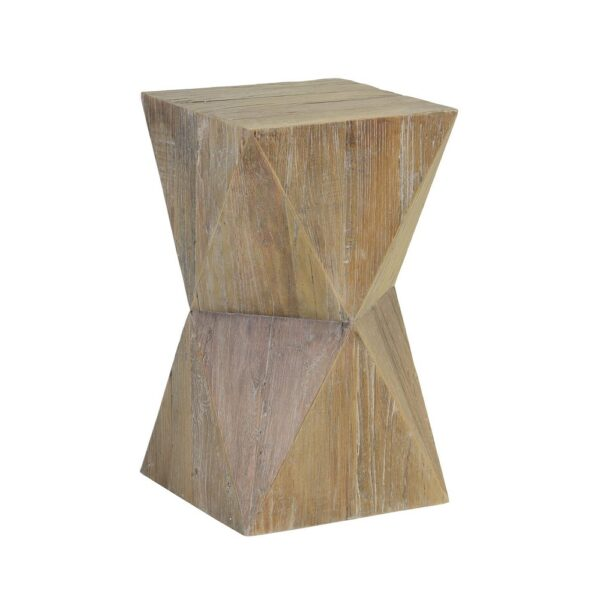 Natural wood color tall side table with geometrical shape