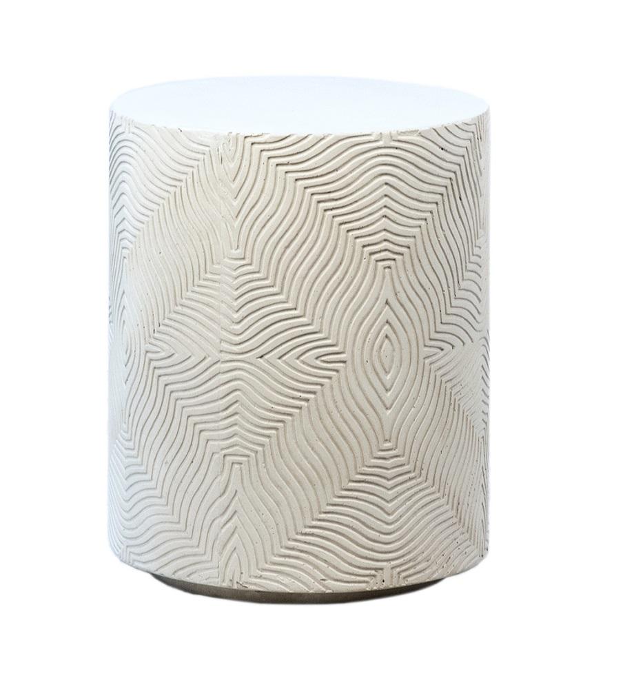 White Round Concrete Side Table