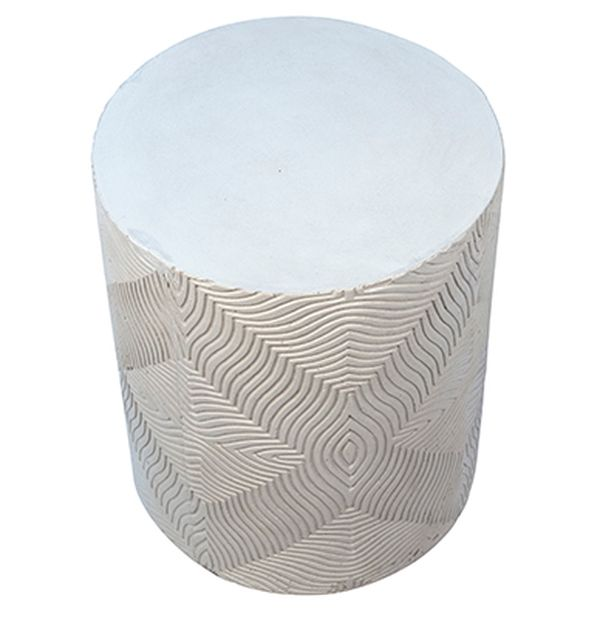 Round white concrete side table for outdoor