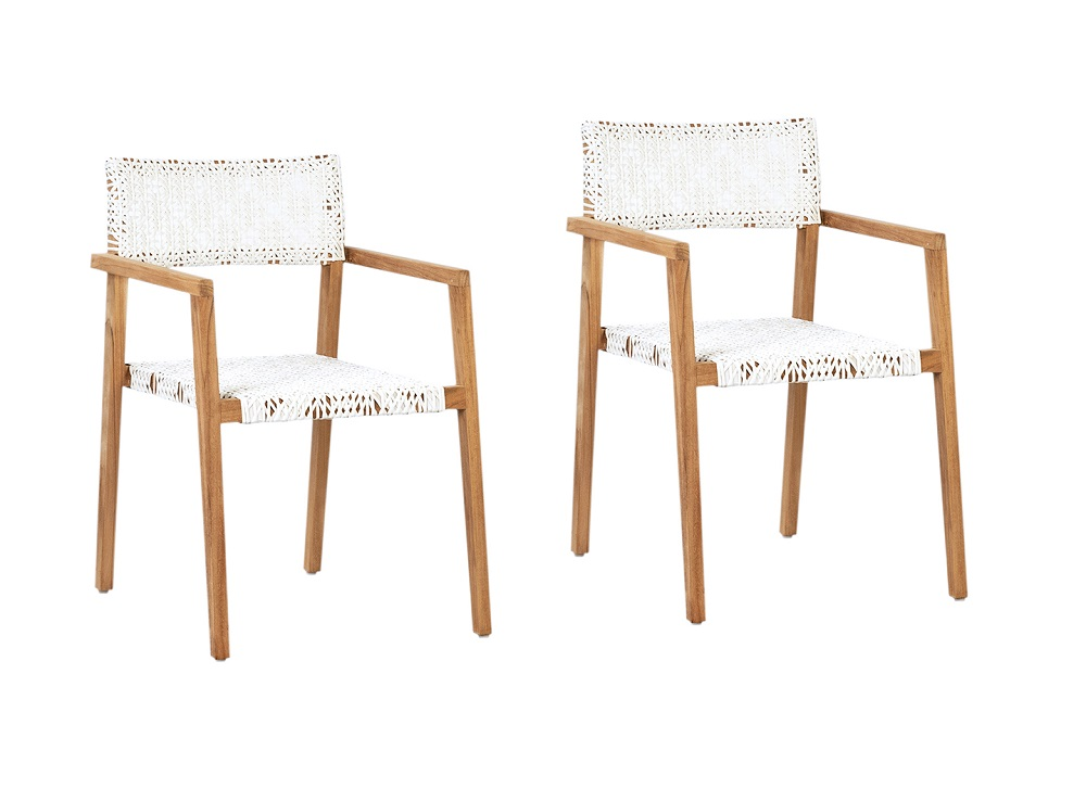Set of 2 Teak and Rattan Dining Chairs
