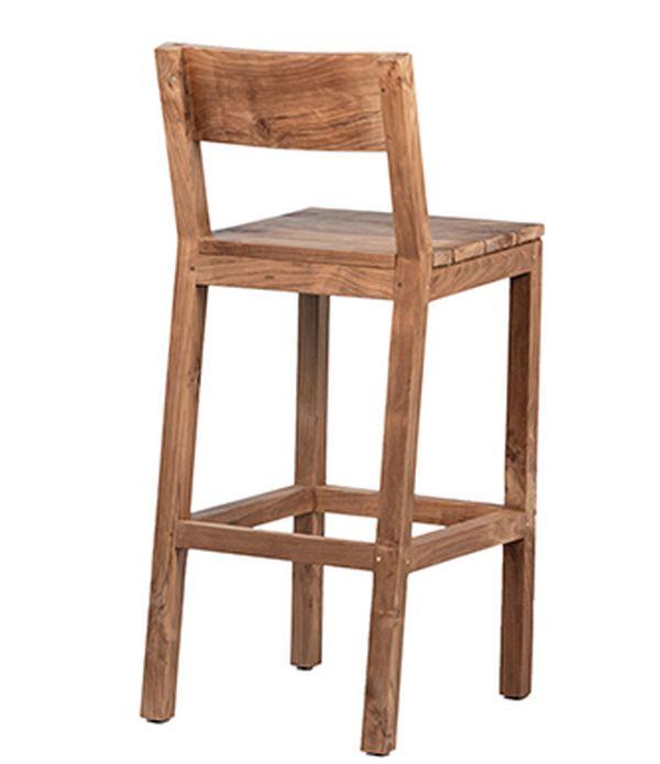Teak bar stool back view