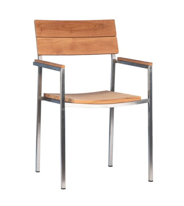 Natural teak outdoor dining chair with stainless steel frame