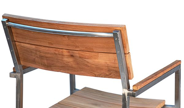 Natural teak outdoor dining chair with stainless steel frame back view