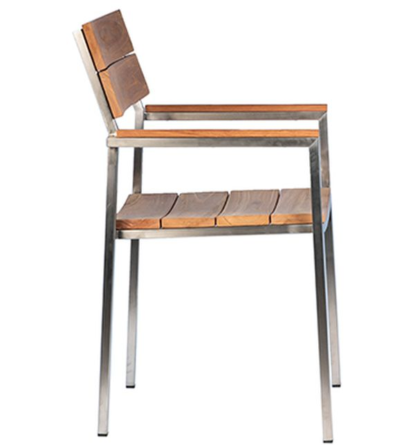 Natural teak outdoor dining chair with stainless steel frame view from the side