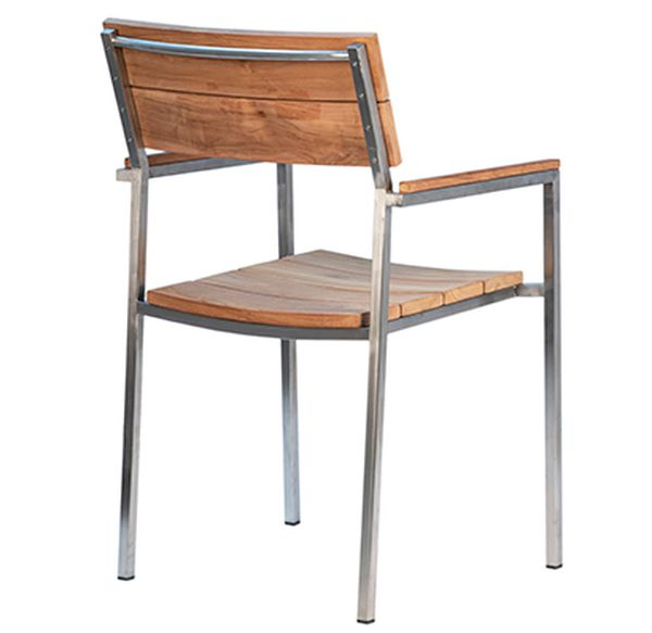 Natural teak outdoor dining chair with stainless steel frame view from the back